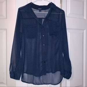 Sheer navy blue button up with 2 pockets